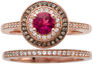 MODERN BRIDE Lead Glass-Filled Ruby and 1/3 CT. T.W. Diamond 10K Rose Gold Ring Set