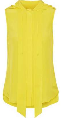 Moschino Washed-Silk Hooded Top