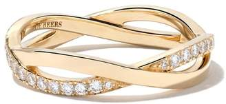 De Beers 18kt yellow gold Infinity half pave diamond band