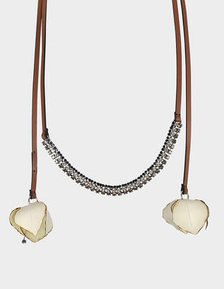 Marni Choker Necklace in Ivory Fabric and Strass