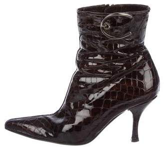 Stuart Weitzman Embossed Patent Leather Ankle Boots