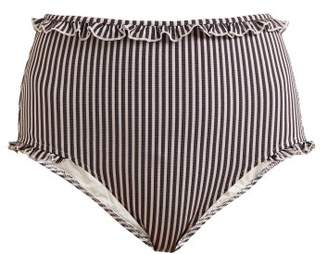 Solid & Striped The Leslie High Rise Striped Bikini Briefs - Womens - Navy Stripe