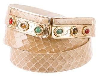 Judith Leiber Embellished Python Belt