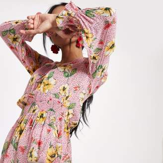 River Island Womens Pink floral shirred waist long sleeve top