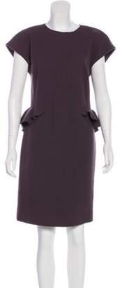 Bottega Veneta Virgin Wool Peplum Dress Aubergine Virgin Wool Peplum Dress