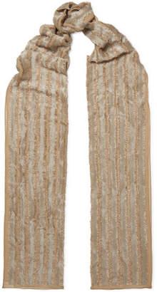 Chloé Metallic Fil Coupé Silk-blend Scarf - Beige