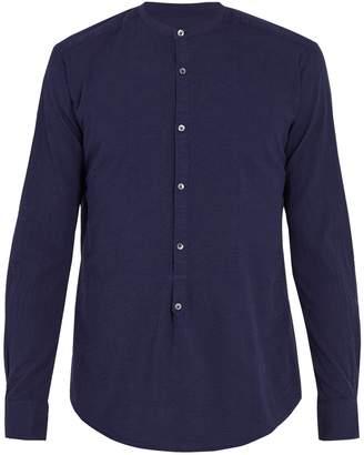 THE GIGI Shedir grandad-collar seersucker shirt