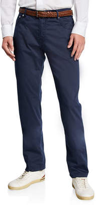 Kiton Men's Cotton/Silk-Stretch Straight-Leg Pants