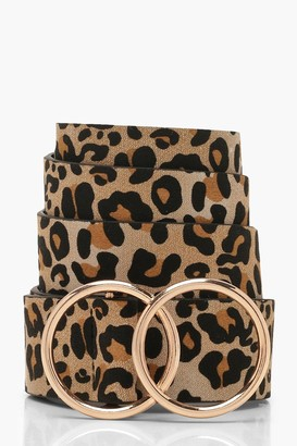 boohoo Leopard Belt With Gold Double Ring