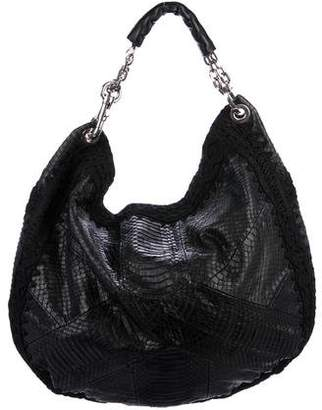Jimmy Choo Snakeskin-Trimmed Hobo