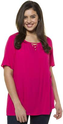 Ulla Popken Plain Straight Cut Round Neck Blouse with Short Sleeves