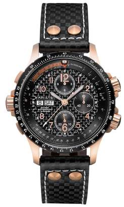 Hamilton Khaki X-Wind Automatic Chronograph Leather Strap Watch, 44mm