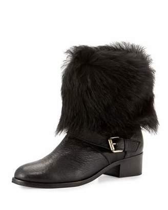 Delman Minka Fur-Cuff Moto Boot, Black $548 thestylecure.com