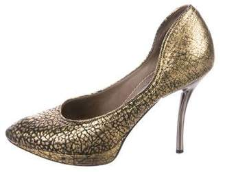 Lanvin Embossed Leather Pumps