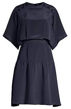 Derek Lam Women's Short-Sleeve Silk Ruffle Hem Dress