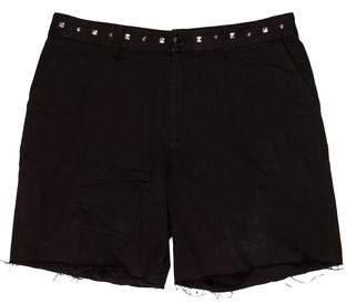 Saint Laurent Stud-Accented Raw-Edge Shorts