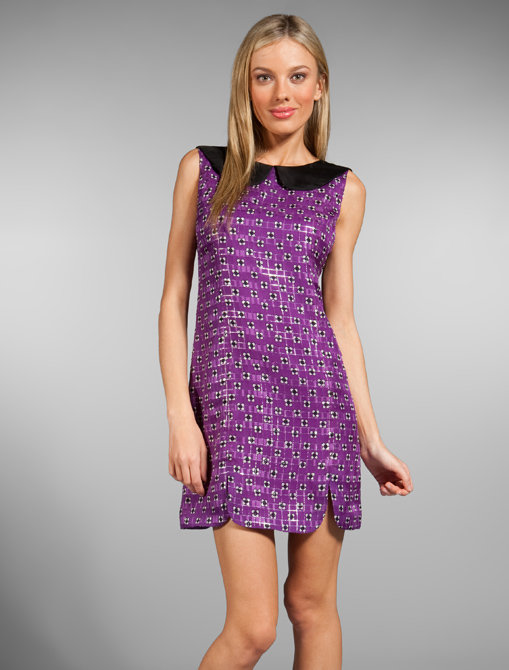 Anna Sui Clover Foulard Print Silk Metallic Dress