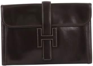 Hermes Jige Leather Clutch Bag