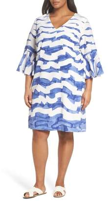 Lafayette 148 New York Holly Print Bell Sleeve Silk Shift Dress