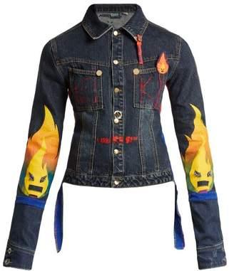 Noki - Matchstick Print Denim Jacket - Womens - Dark Denim