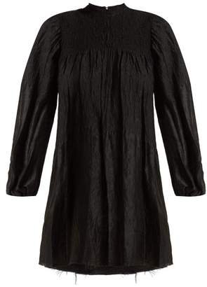 Marques Almeida Marques'almeida - Smocked Long Sleeved Mini Dress - Womens - Black