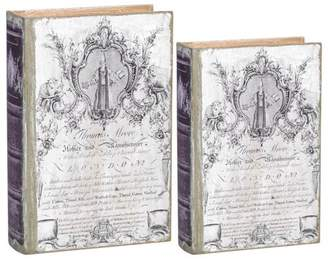 A&B Home Antiqued Book Boxes, Set of 2