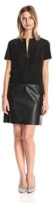 Julia Jordan Women's Short Sleeve Zip Front Faux Leather/Suede Shift Dress $107.19 thestylecure.com