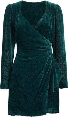 Intermix Brooke Velvet Burnout Wrap-Effect Mini Dress