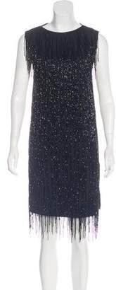 Maison Margiela Leather-Paneled Fringe Dress