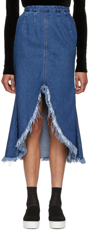 Sjyp Blue Front Cut-off Denim Skirt