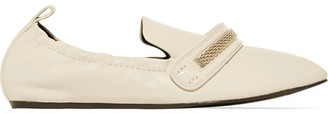 Lanvin - Chain-trimmed Leather Loafers - Ecru $650 thestylecure.com