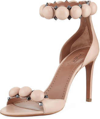 Alaia Bombe Stud Leather Ankle-Wrap Sandals