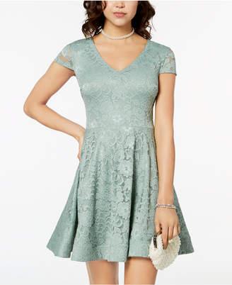 B. Darlin Juniors' Tie-Back Lace Fit & Flare Dress