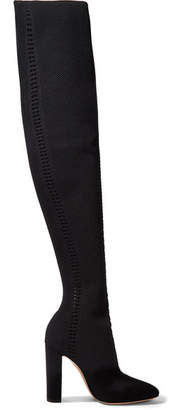 Gianvito Rossi 105 Perforated Stretch-knit Over-the-knee Boots - Black