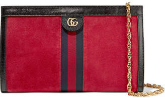 Gucci Ophidia Patent-leather Trimmed Suede Shoulder Bag - Red