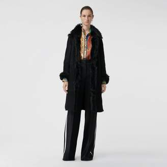 Burberry Shearling Car Coat , Size: 08, Black