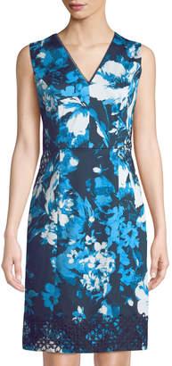 Karl Lagerfeld Paris Lace-Trim Floral Poplin Sheath Dress