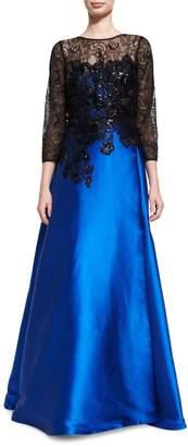 Rickie Freeman For Teri Jon Satin Evening Gown w/ Beaded Lace Bodice