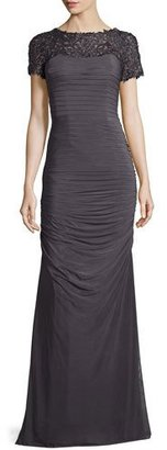 La Femme Ruched Tulle & Beaded Lace Gown, Gunmetal $478 thestylecure.com