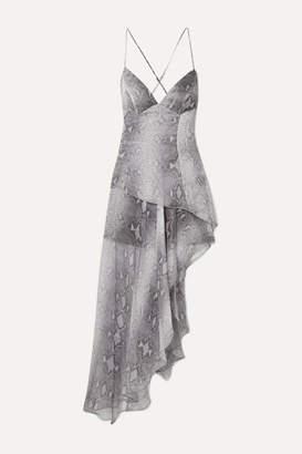 Amiri Asymmetric Layered Snake-print Silk-chiffon Maxi Dress - Gray