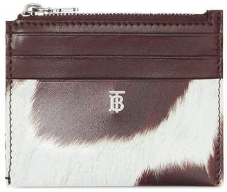 Burberry Cow Print Leather Zip Card Case