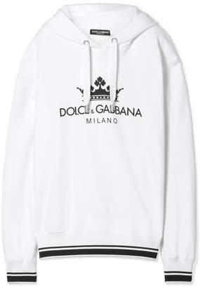 Dolce & Gabbana Oversized Printed Cotton-blend Jersey Hooded Sweatshirt - White