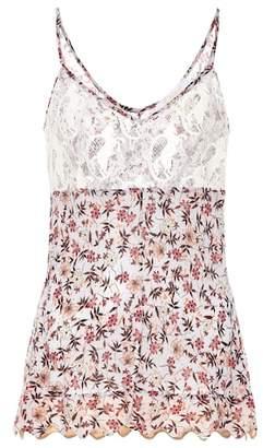 Chloé Floral-print lace camisole