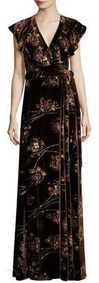 Co Floral Velvet Maxi Wrap Dress, Burnt Sienna