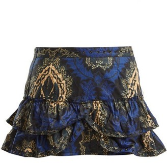 Isabel Marant Bertille Floral Print Ruffle Trimmed Mini Skirt - Womens - Blue Multi
