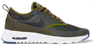 Nike - Air Max Thea Leather And Jacquard Sneakers - Army green $115 thestylecure.com