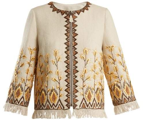 Embroidered linen-blend jacket