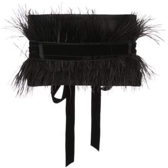 Josie Natori velvet ostrich feather belt
