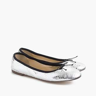 J.Crew Evie ballet flats in mirrored silver