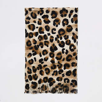River Island Ecru leopard print scarf